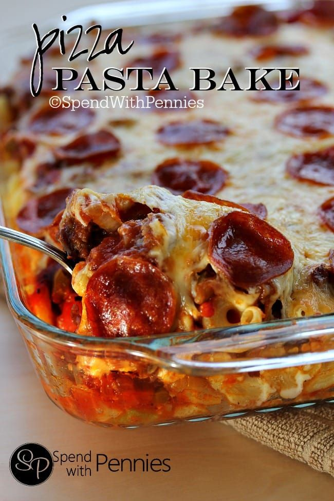 This easy pizza pasta bake features all of the pizza flavors you love in a delicious cheesy casserole! We add pepperoni, sausage and green pepper but feel free to add in your own favorite toppings such as mushrooms, olives or ham!