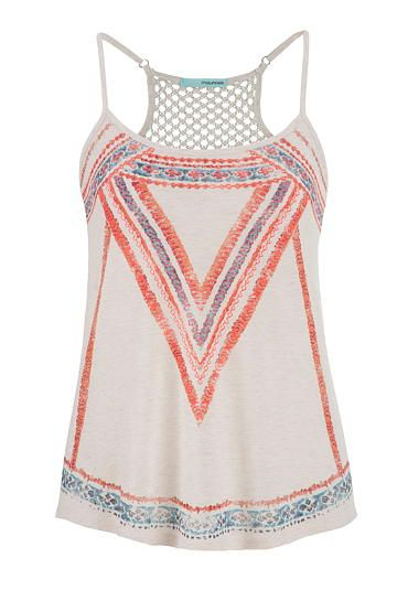 cute summer tanks: painted tank with lace back #maurices