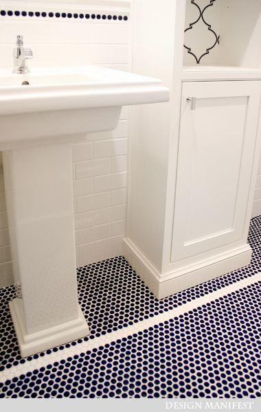 Navy Penny  Blue Penny Tile  Penny Tile Floors  Bathroom Floor Tiles  Boys  Bathroom  Master Bathroom  Blue Bathroom Ideas  Navy Bathroom  Bathroom Reno. 17 Best ideas about Penny Tile Floors on Pinterest   Penny