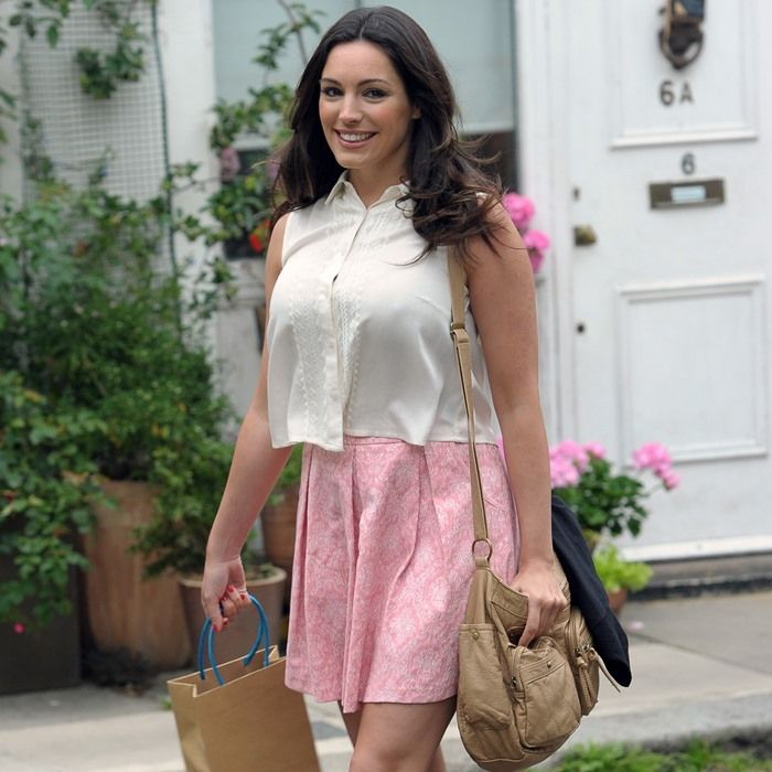 Kelly Brook filming scenes on location for her latest film Taking Stock in London on July 2, 2013