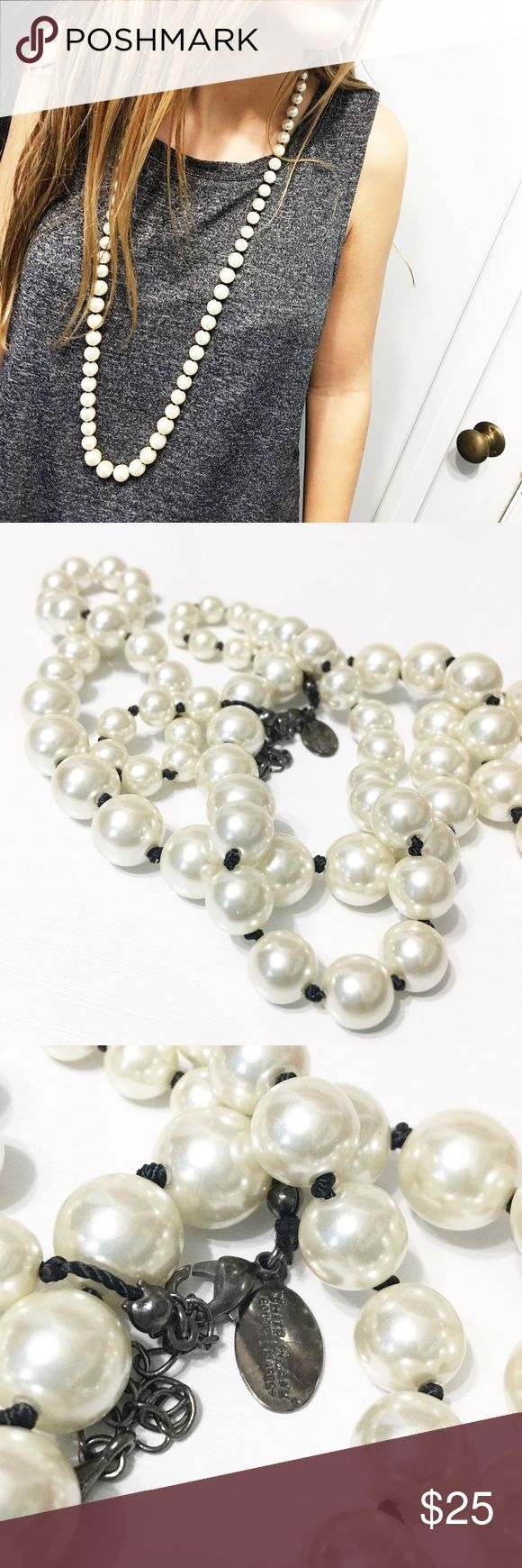 """White House Black Market Long Pearl Necklace Tie it in a knot, double it up, or wear it plain, this faux pearl necklace from WHBM is the ultimate classy staple. Larger pearls at the bottom get smaller as they reach the clasp. 36"""" long and in fabulous like-new condition. Questions? Please ask. Sorry, no trades. Bundle for a discount! White House Black Market Jewelry Necklaces"""