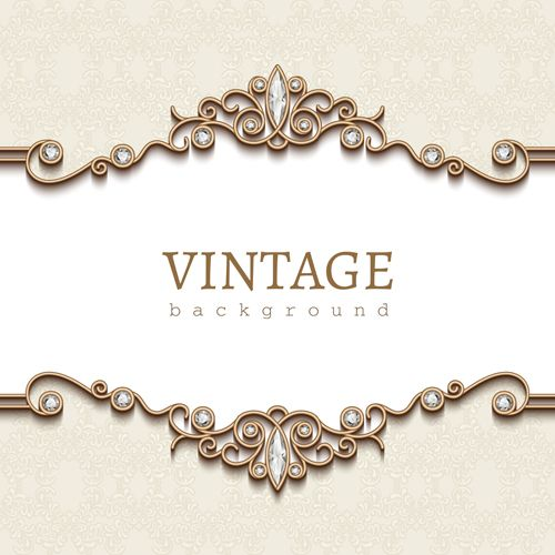 Vintage golden background with diamond vector