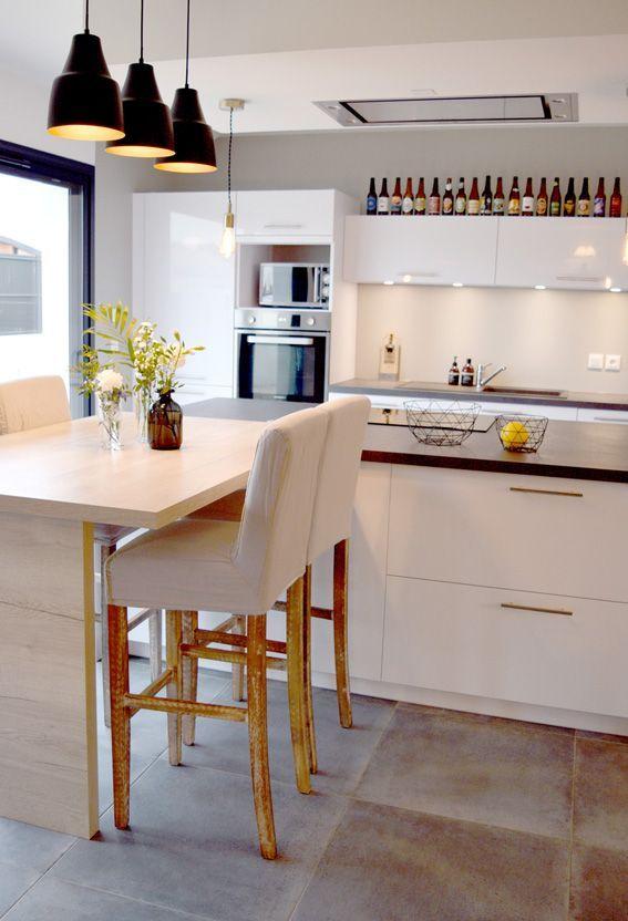 Cuisine blanche et grise moderne - Emilie PEYRILLE - cuisine moderne ...