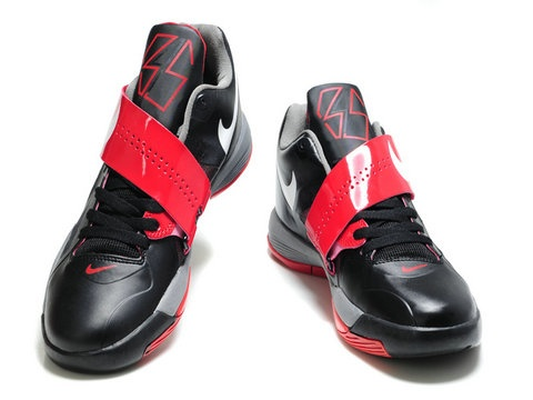 Nike Zoom KD IV 4 Black Varsity Red White,Style features a black upper with  varsity red accents including the strap and detailing.