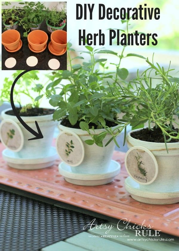 DIY Decorative Clay Pots for Herbs - Mint, Cilantro and Rosemary Labels Tutorial--SUPER easy! -artsychicksrule.com