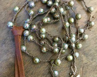 Boho Halskette, Boho Leder Schmuck, Perlen häkeln Halskette, Schichtung, Leder fransenkette, lange böhmischen Halskette, Festival