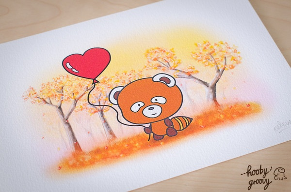 Autumn Red Panda Art Print, available at www.hoobygroovy.com