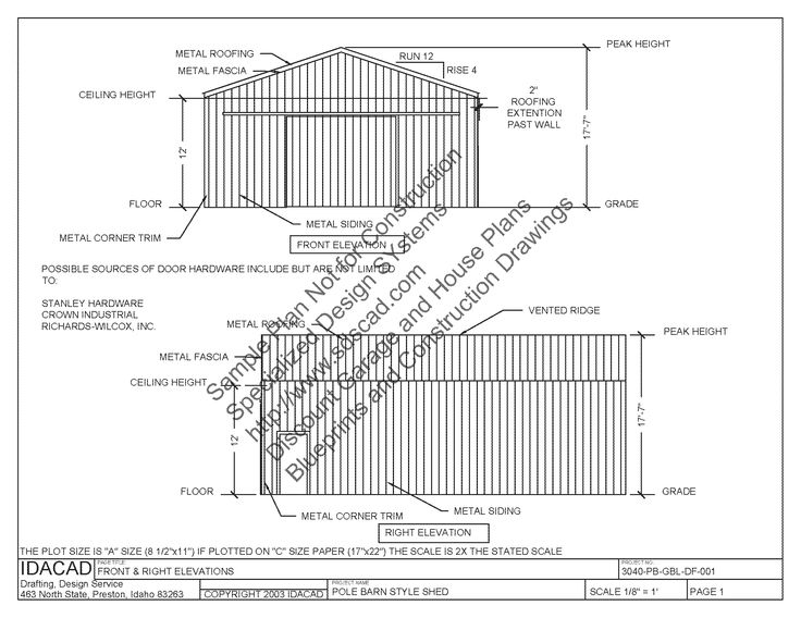 40 X 60 Pole Barn Home Designs | 3040PB1 30 x 40 pole barn Plans_Page_03
