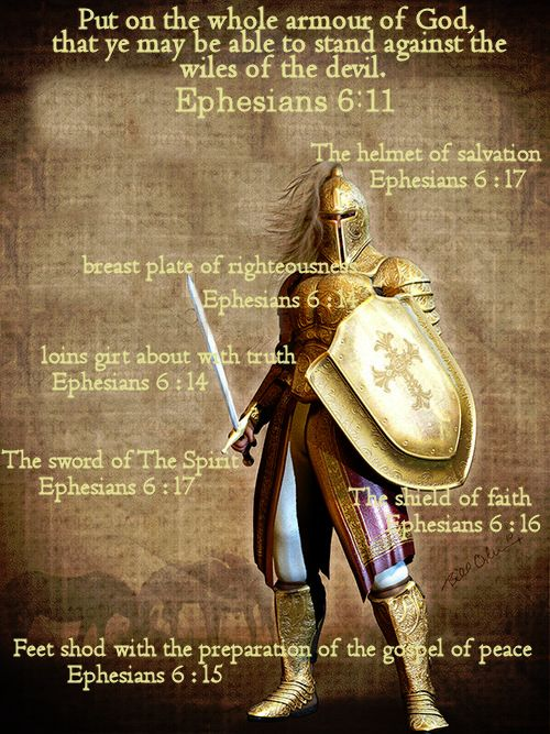 Isten fegyverzete.  Put on the whole armour of God, that ye may be able to stand against the wiles of the devil.  Ephesians 6:11 KJV