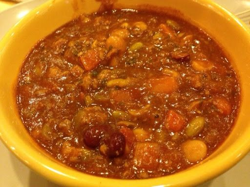 Panera Bread Turkey Chili Copycat With Turkey Breast, Sweet Onion, Carrots, Celery Ribs, Garlic, Olive Oil, Tomatoes, Tomato Paste, Salt, Ground Pepper, Chili, Ground Cumin, Italian Seasoning, Crushed Red Pepper, Kidney Beans, Corn, Edamame, Garbanzo Beans, Vegetable Stock