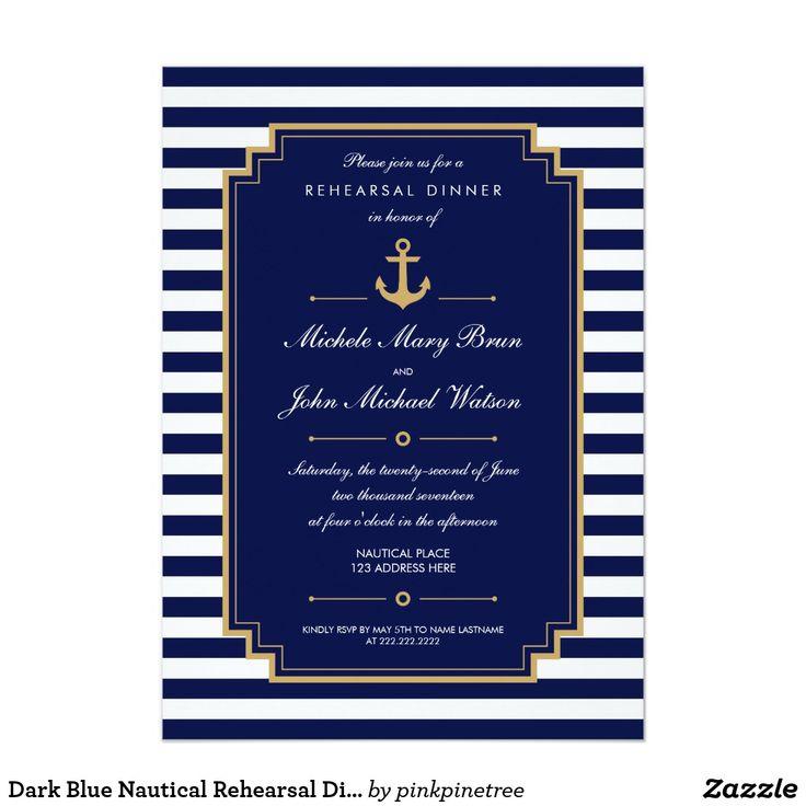 Dark Blue Nautical Rehearsal Dinner Invitation