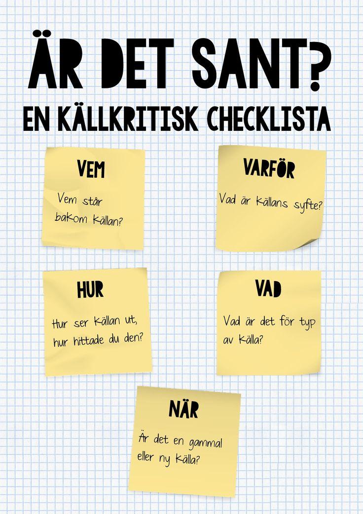 En källkritisk checklista i A3-format till åk 5.