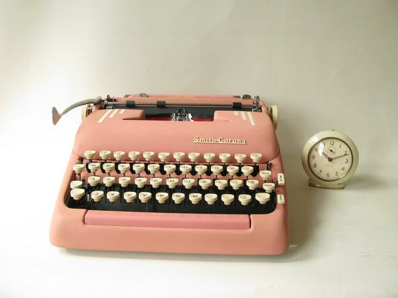 Vintage Smith Corona Typewriter Pink Super Silent by PassedBy