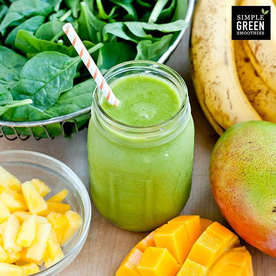 Beginner's Luck - Simple Green Smoothies ingredients  2 cups spinach, fresh  2 cups water  1 cup pineapple  1 cup mango  2 bananas   – Serves 2 –directions  Blend spinach and water until smooth. Next add the remaining fruits and blend again.   * Use at least one frozen fruit to make the green smoothie cold.