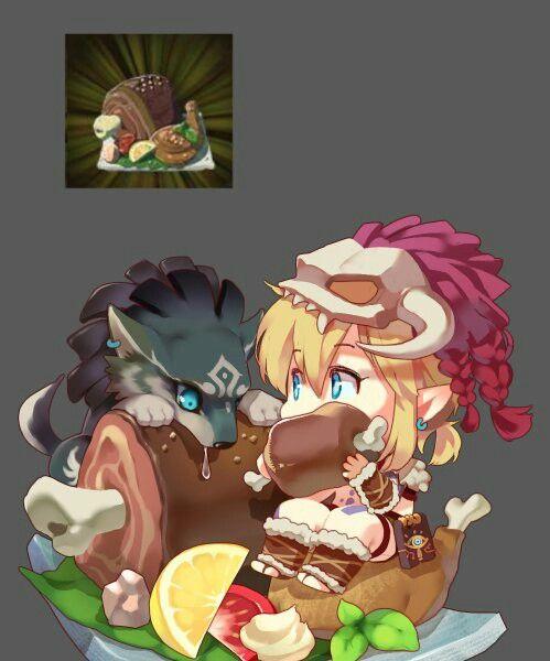 TLoZ: BoTW; Link & Wolf Link Eating