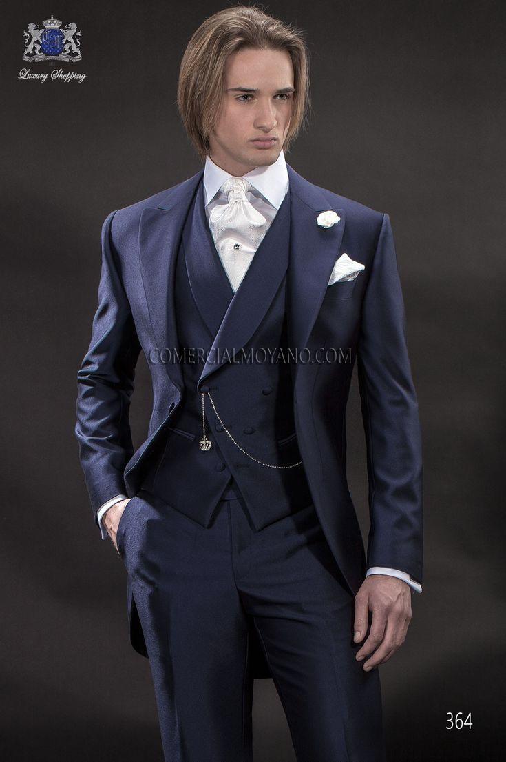 Italian bespoke wedding suit, blue short frock fil a fil, style 364 Ottavio Nuccio Gala, 2015 Gentleman collection.