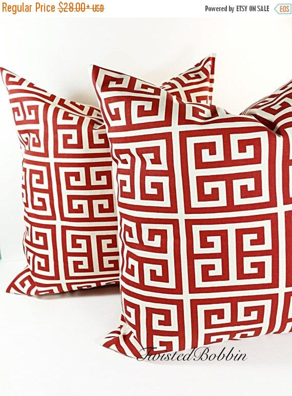 On Sale Greek tower, red & natural, Cushion  Covers, Pillow Case, cotton set of two  ,Select your size