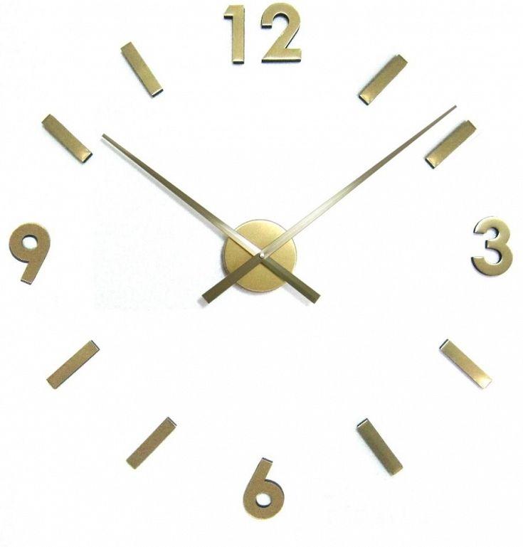 Naklejany zegar ścienny DIY Extender złoty