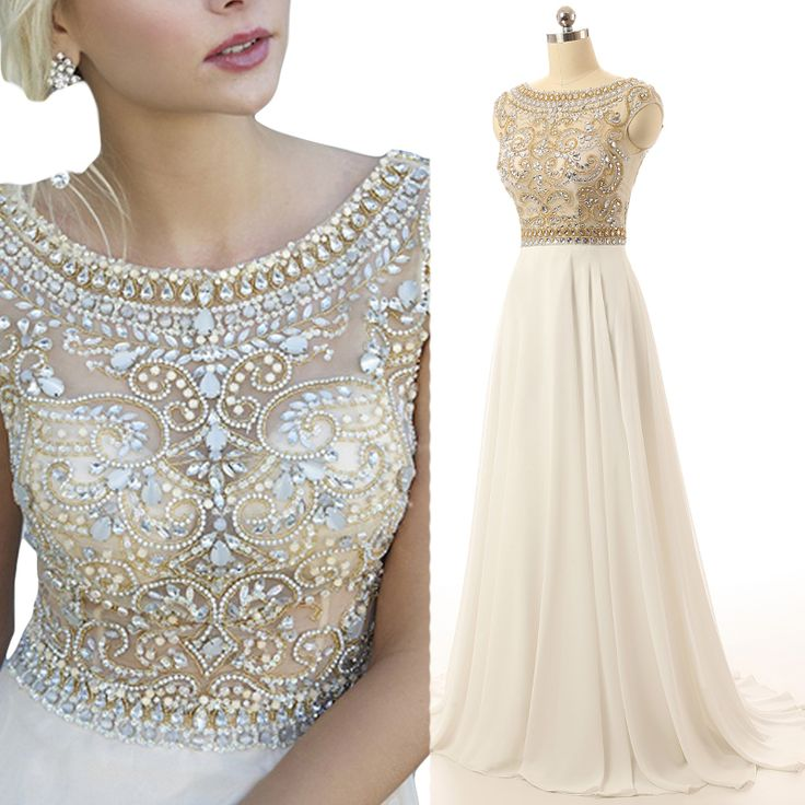 Gorgeous Ivory Prom Dress, Cap Sleeve Prom Dresses, Beaded Long Evening Dress, Sparkly Prom Dress, E on Luulla