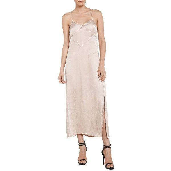 Bardot Cross-Back Slip Dress ($99) ❤ liked on Polyvore featuring dresses, beige, lined dress, bardot dress, pink dress, criss-cross back dresses and beige slip dress