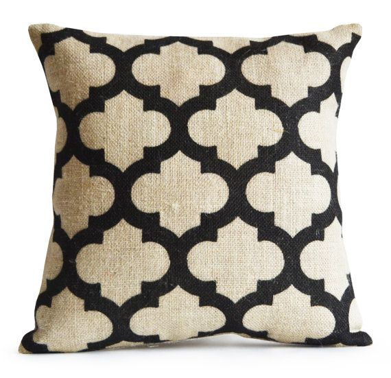 Trellis Burlap Pillow Cushion Cover Decorative by AmoreBeaute