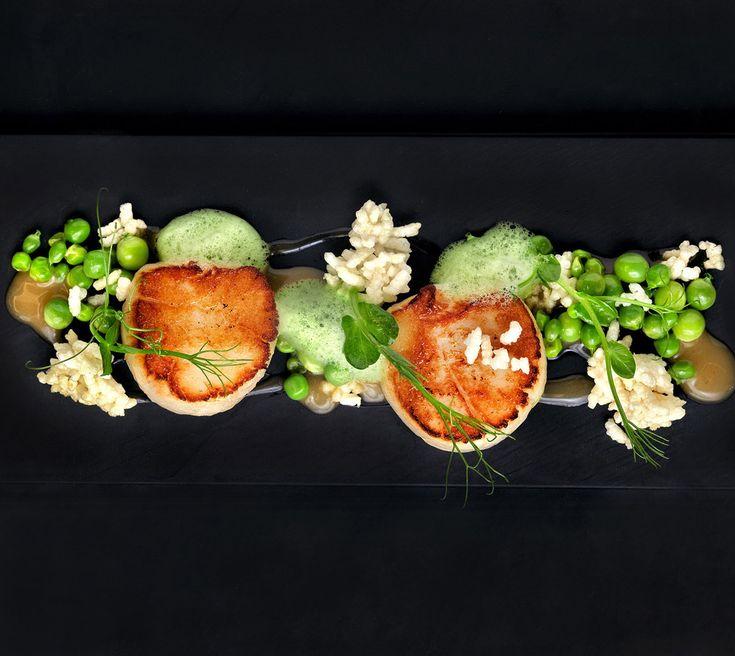 two Michelin star chef Alvin Leung: Scallops, peas, crispy woba and jolo