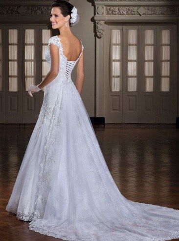 Backless Appliques Lace Up Back Bridal Gown  -dream weddings Australia wholesalers www.dreamweddingsaustralia.com.au