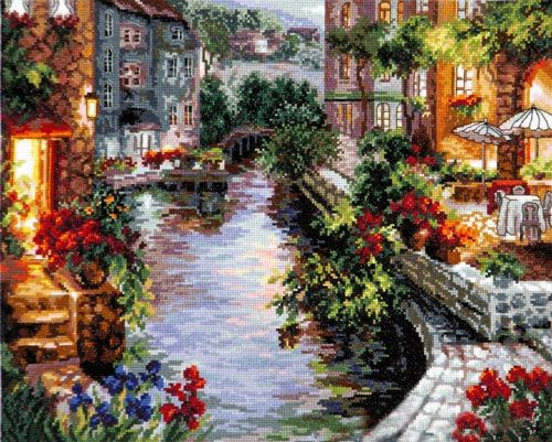 Скачать Вечер в Венеции бесплатно. А также другие схемы вышивок в разделах: Italien, Urban Landscape, Häuser, Cafe, Wunderbare Nadel