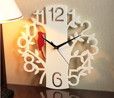 Wall clock personality quiet art fashion creative living room large digital clock woodpeckers clock wall world