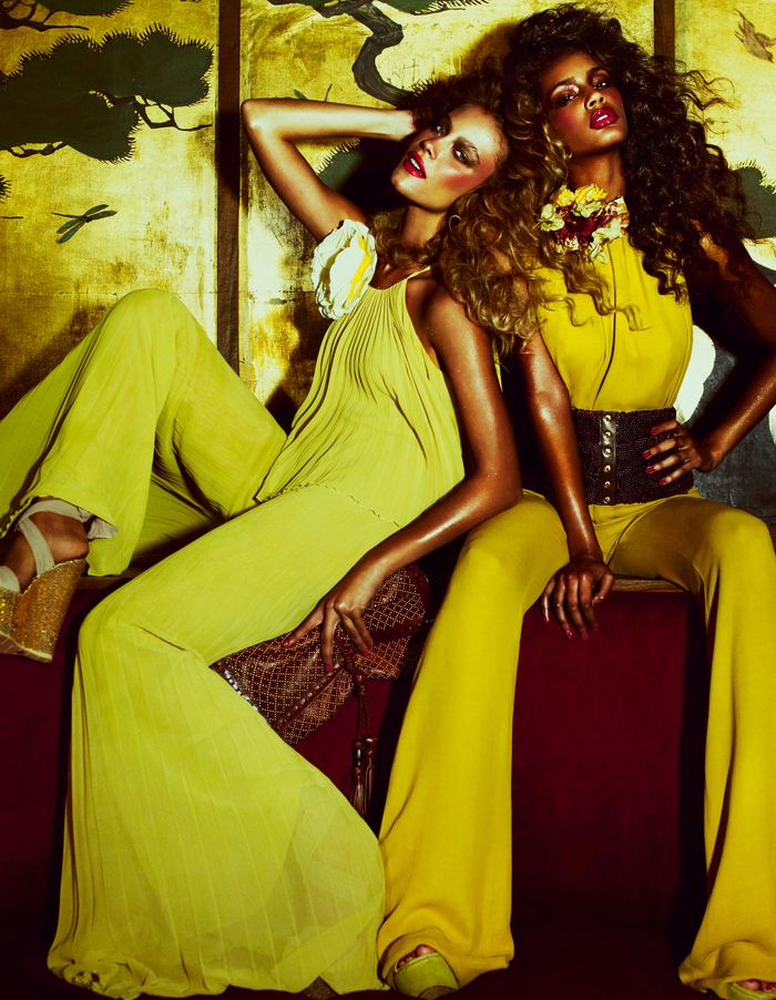 High-gloss, high-glamour partywear strikes a groovy pose straight out of Studio 54. Styling by Damian Foxe.