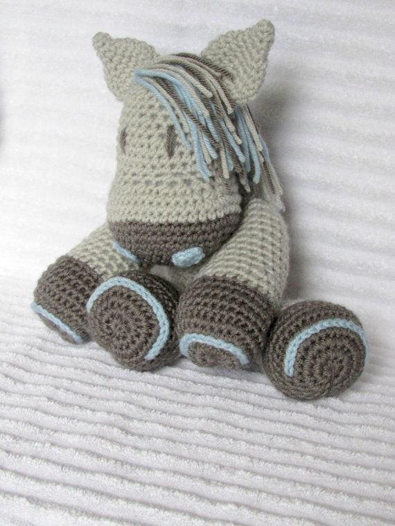 Crochet Horse Stuffed Animal in Grey and by NikkisCraftShoppe