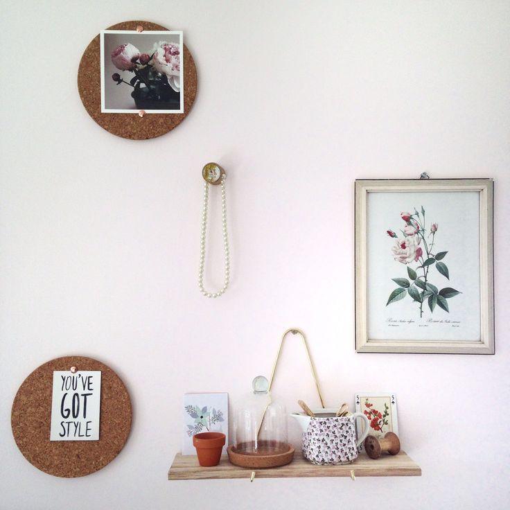 My bedroom wall. #flexanl #stylishpink bracket shelf // a Creative mess