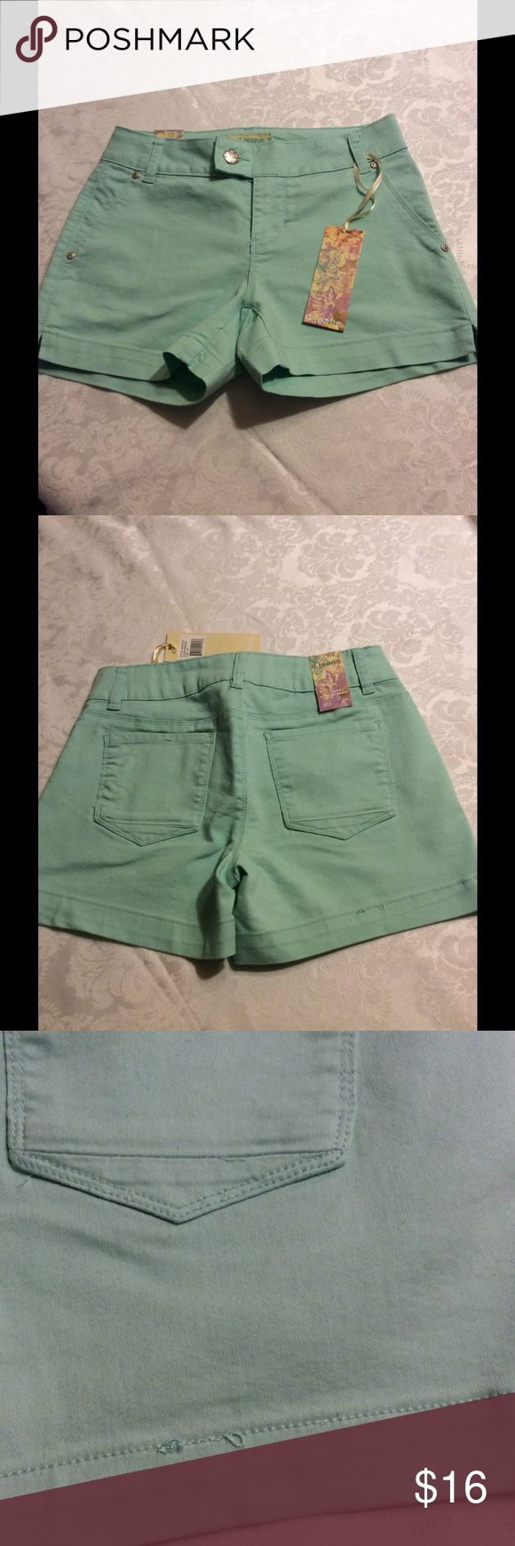 d. jeans - Mint Green Shorts d. jeans brand mint green shorts, super cute for summer ☀️. Color is sea foam, size 4 Petite.   70% cotton, 28% polyester, 2% spandex for stretch.  Machine wash and dry.  Made in China. d. jeans Shorts