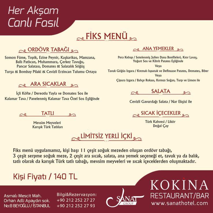 Eşsiz lezzetler denemek isteyenleri Kokina Restaurant'ın Fiks Menüsü ile tanıştıralım. #SanatHotel #Taksim #Beyoğlu #Pera #otel #hotel #Asmalımescit #İstanbul #Galata #Tünel #konaklama #Kokina #restaurant #bar