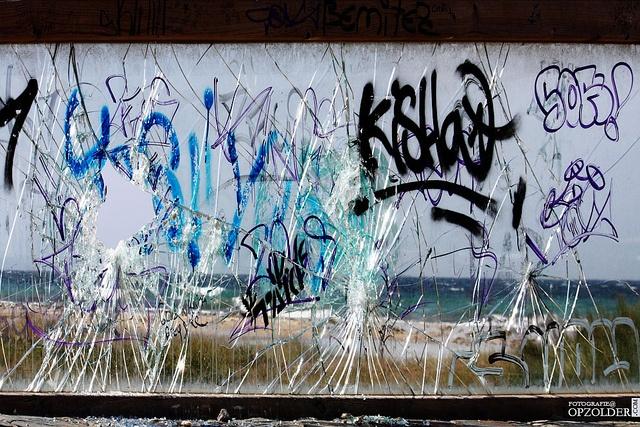 #Shattered #view, #seaview, #Beach, #Tarifa, #Vandalism, #Grafiti,