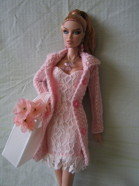 Fashion Royalty Doll wearing a Birthstone Barbie dress and a hand knit sweater - sweet!