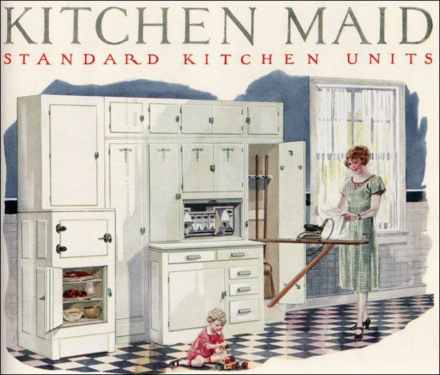"""1924 Kitchen Maid Cabinets - This """"all in one"""" built in was a housewife's dream work space. All her necessary supplies for a fair number of daily chores were designed to be at arm's length. Other companies like Curtis Woodwork, which did millwork similar to Kitchen Maid, competed for the same market."""