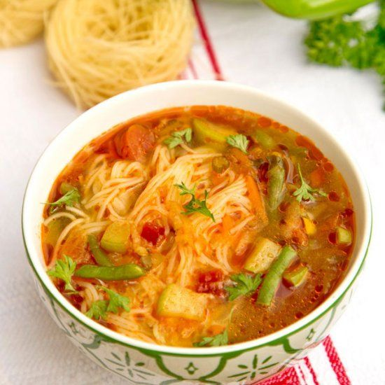 Fall Vegetable Soup With Noodles In Romanian