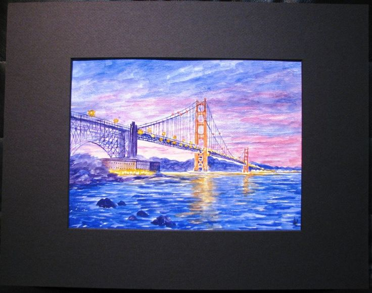 Basia & Yuriy original watercolour titled  Golden Gate Bridge .