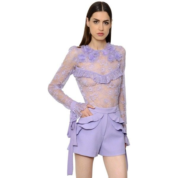 Elie Saab Women Ruffled Lace Top With Flowers ($1,900) ❤ liked on Polyvore featuring tops, blouses, lilac, purple lace top, lace cami top, long sleeve camisole, long sleeve blouse and purple cami