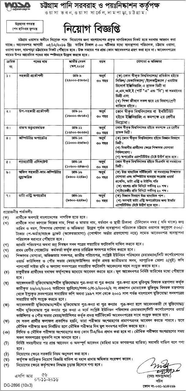চট্টগ্রাম ওয়াসা'তে ৭ পদে নিয়োগ বিজ্ঞপ্তি Job, Circular