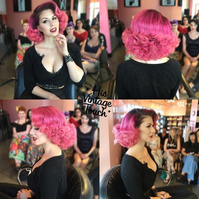 Here's the full view look on the aways gorgeous @AnnaleeBelle from today's hair class!!! Products used were @kenraprofessional's volume spray 25 and @suavecitapomade grooming spray!  Hair By #HisVintageTouch