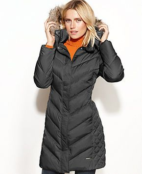 Kenneth Cole Reaction Coat, Hooded Faux-Fur-Trim Quilted Puffer - Coats - Women - Macy's
