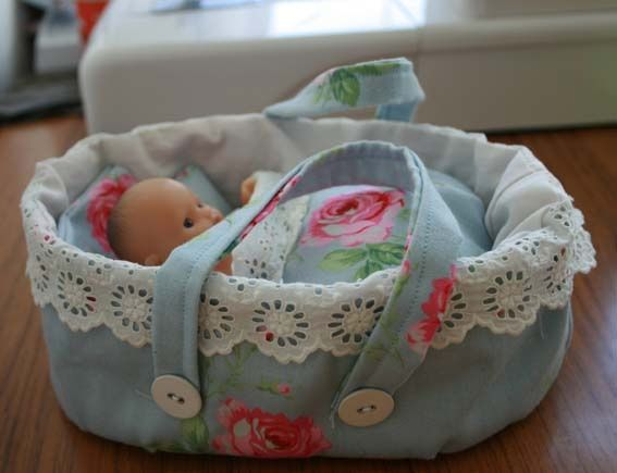 "doll basket paterns | How to make a moses basket for a 5"" doll"