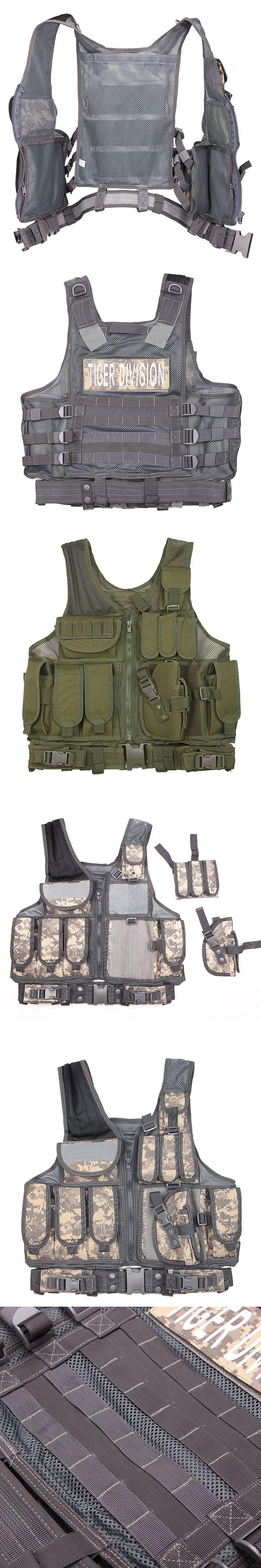 Men Tactical Vest Army Military Special Forces Combat Camo Vest Breathable Waistcoat Vest Army Swat Equipment Molle Vest
