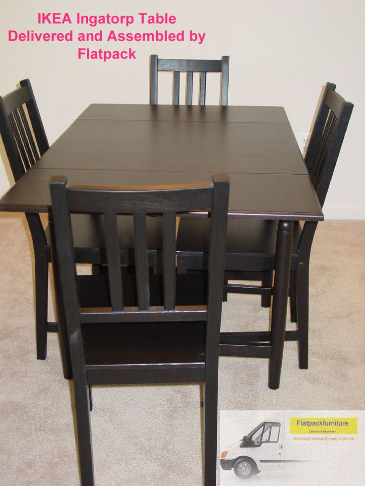 IKEA INGATORP Table And 4 Chairs, Black Brown Best Furniture Assembly In  Washington,