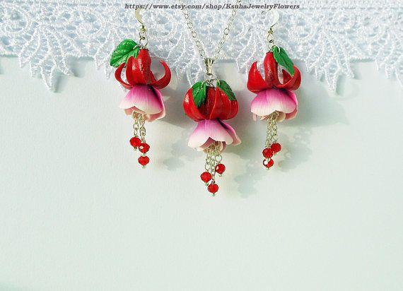 Polymer Clay Fuchsia Flower Jewelry Fimo Diy Polymer Clay Tutorials Flower Jewellery Pink Jewelry Set Clay Flowers