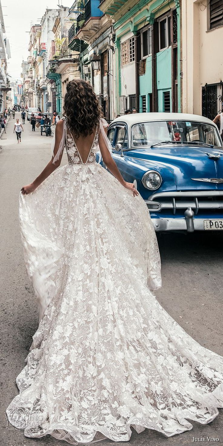 julie vino fall 2018 havana sleeveless deep plunging neckline full embellishment sexy romantic soft a line wedding dress open v back chapel train (5) bv -- Julie Vino Fall 2018 Wedding Dresses