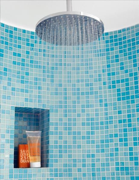 Turquoise glass mosaic in the shower and a niche (well, three actually but you can't see them all here) for schampoo, conditioner and soap.