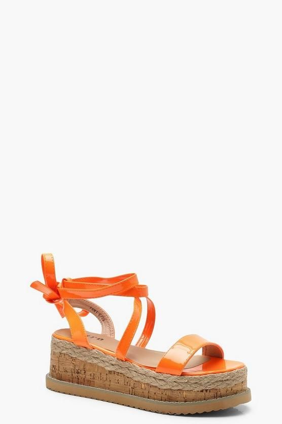 a9d19529308 Neon Wrap Strap Flatform Sandals in 2019 | Boohoo | Sandals, Jelly ...